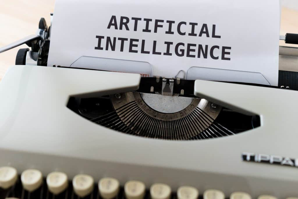 artificial intelligence words printed with typewriter