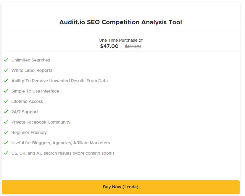 audiit.io seo competition analysis tool appsumo